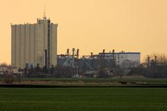 Rural landscape with agricultural silo - stock photo