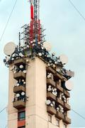 Large transmission tower Stock Photos