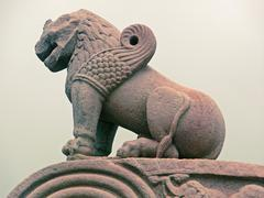 Statue of lion at Uttari toran dwar, North gate, Sanchi, Madhya Stock Photos