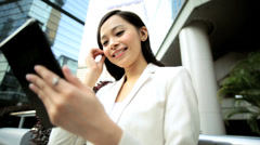 Female Asian Chinese Business Finance Hong Kong City Tablet Hotspot - stock footage