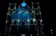 Church at night near Vagatoor, Goa, India - stock photo
