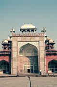 Entrance of Mughal King Akbar's tomb, in Sikandrabad, Agra, Indi - stock photo