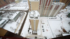 New residential area in winter, overview of cityscape from above Stock Footage