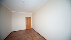 Overview of empty room with bare walls in new building. Stock Footage