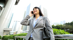 Asian Chinese Female Outdoors Business Smart Phone Hotspot Planning - stock footage