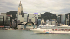 Cruise ship Victoria Harbour Victoria Peak Hong Kong China Asia - stock footage