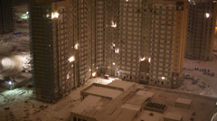 Highrise building under construction in winter evening. Stock Footage