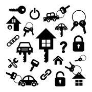 home key and car key symbol - stock illustration