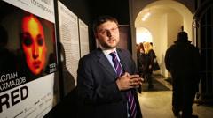 Vasily Tsereteli opens RED exhibition by Aslan Ahmadov Stock Footage