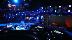 Interior of room in the nightclub Pacha Moscow with DJ equipment Stock Footage