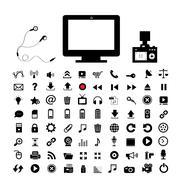 Technology and  media icon set Stock Illustration