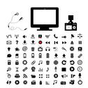 Stock Illustration of technology and  media icon set