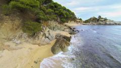 Aerial shots Mediterranean turquoise beach 04 Stock Footage