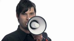 Stock Video Footage of Revolutionary talk with megaphone
