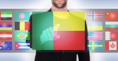 Hand pushing on a touch screen interface Stock Illustration