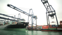 Global container vessel Kowloon Dock Hong Kong harbour Port China - stock footage