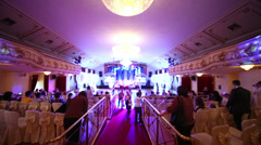 People gather in Golden room at Surikov Hall for White Ball Stock Footage