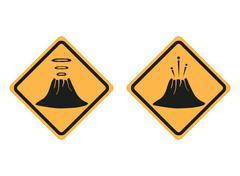 Warning road signs about the dangers of volcano - stock illustration