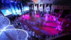 Children dance roundelay at White Ball - holiday for children Stock Footage