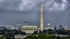 Washington, DC Skyline Cloudy Afternoon time lapse [4K HDR] Stock Footage