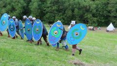 Roman soldier attack with spears Stock Footage
