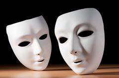 Masks with theatre concept Stock Photos