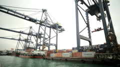 International Terminal dockside cranes nautical vessels container   China - stock footage