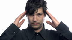 Person having headache on white background Stock Footage