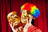 Actor with maks in a funny theater concept Stock Photos