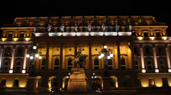 NIGHT BUDA CASTLE 6 FONTAIN PAN RIGHT - stock footage
