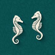 Seahorse marine background Stock Illustration