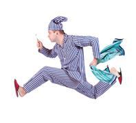 Man in pajamas runs on white background Stock Photos