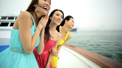 Ethnic Girls Yacht Hong Kong Harbor Corporate Business Sailing Yacht Stock Footage