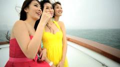 Three Asian Chinese Girlfriends Yacht Hong Kong China Tourism - stock footage