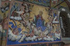 Mural painting in the church in Rila monastery Stock Photos