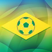 football ball in brazil flag, flat design - stock illustration