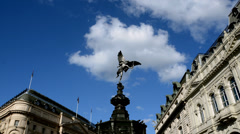 Piccadilly circus.Statue of Eros. Timelapse - stock footage