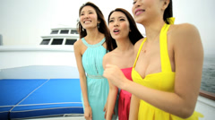 Ethnic Girls Recreation Leisure Business Tourism Yacht Travel Stock Footage