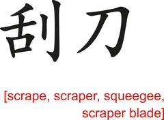 Chinese Sign for scrape, scraper, squeegee, scraper blade - stock illustration