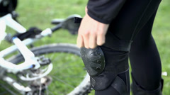 Knee protect in close up Stock Footage
