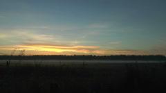 Timelapse landscape bank of fog during sunrise Stock Footage