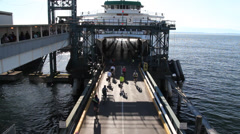 Bikes entering the Ferry in Seattle Stock Footage