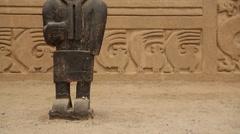 Chan Chan - Guardian-Figure in the Main Square (Trujillo, Peru) Stock Footage