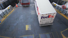 FedEx truck and other cars exiting the Ferry in Seattle Stock Footage