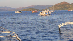Boat on the sea in Coron, Philippines - stock footage
