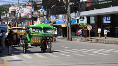 Tricycle motor taxi, Philippines inexpensive transport service Stock Footage
