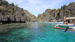 Tourist boats on the sea in El Nido, Philippines Stock Footage