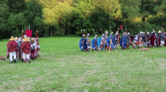 Roman army is marching into a fight Stock Footage