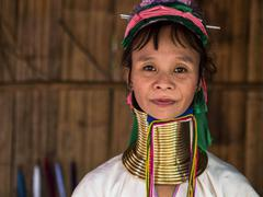 Karen Long Neck Woman in Hill Tribe Village Near Chiang Mai, Thailand - stock photo