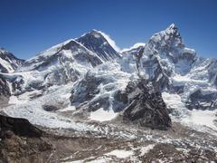 Mount Everest, Nuptse and the Khumbu Icefall, Everest Region, Nepal Stock Photos